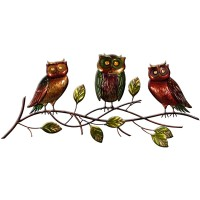 Metal Wall Art Owl Family