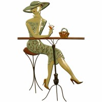 Metal Wall Art Cocktail Lady