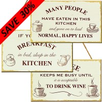 Wood Kitchen/Coffee Plaques (3 asst'd)