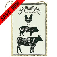 Wood Farmers Market Animal Plaque