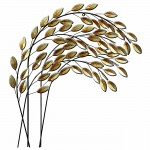 Metal Wall Art Silver Leaves